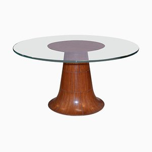 Italian Round Coffee Table with Beveled Thick Glass Top by Paolo Buffa, 1940s
