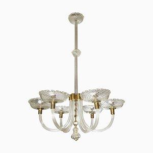 Lámpara de araña de cristal de Murano con seis brazos de Barovier & Toso, años 40