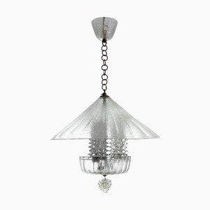 Farol italiano de cristal de Murano de 3 luces de Ercole Barovier, años 30