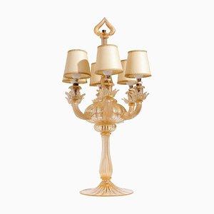 Murano Glass 6-Light Gold Leaf Table Lamp by Seguso Vetri d'Arte, 1940s