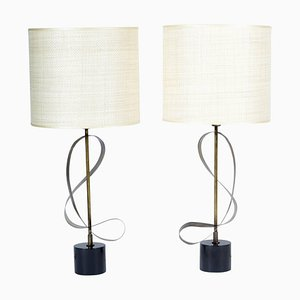 Italian Knurled Curved Brass Table Lamps, 1958, Set of 2