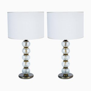 Lampade da tavolo in vetro di Murano e ottone di Barovier & Toso, anni '40, set di 2