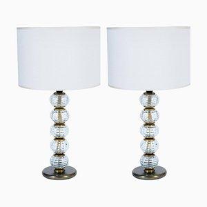 Lámparas de mesa de cristal de Murano y bronce bronce de Barovier & Toso, años 40. Juego de 2