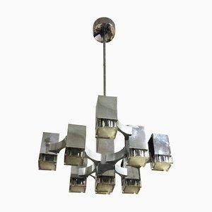 Lámpara de araña serie Cubic italiana de Gaetano Sciolari, 1969