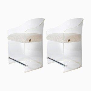 Plexiglas Armlehnstühle mit verchromten Details, 1960er, 2er Set