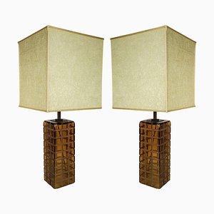 Lámparas de mesa italianas de cristal de Murano, años 70. Juego de 2
