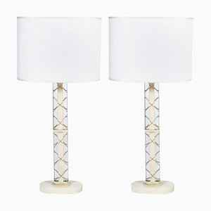 Italian Oval Section Table Lamps from Luigi Brusotti, 1940s, Set of 2