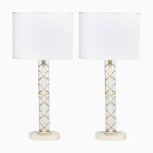 Lámparas de mesa italianas ovaladas de Luigi Brusotti, años 40. Juego de 2