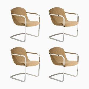 Italienische Stühle aus Stoff & Chrom, 1970er, 4er Set