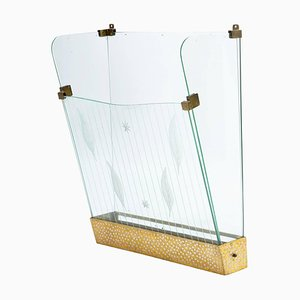 Italienischer Schirmständer aus Messing & Kristall von Cristal Art, 1950er