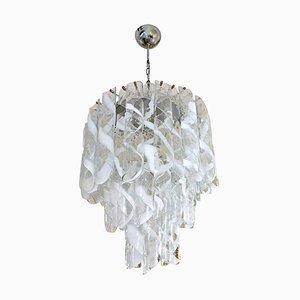 Lámpara de araña italiana de cristal de Murano de Mazzega, años 60