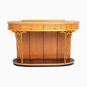 Italian Round Rosewood Console Table by Fagioli Firenze for Attilio Fagioli, 1940s