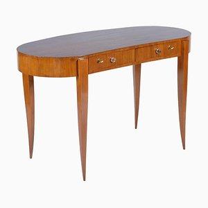 Schreibtisch mit schmalen Beinen & Schreibtisch aus Kristallglas, 1940er