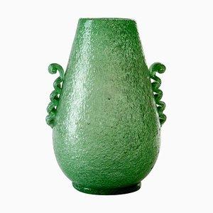 Bicchiere Pulegoso in vetro di Murano soffiato verde di Seguso, 1934