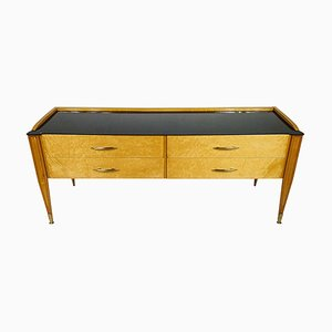 Italian Chest Console with Black Glass Top, 1950s