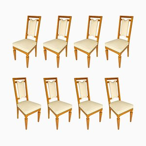 Italian Cherry Chairs, 1940s, Set of 8