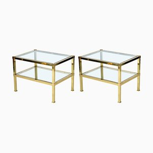 Italian Brass Side Tables, 1970s, Set of 2