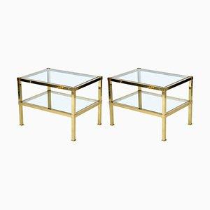 Tavolini in ottone, Italia, anni '70, set di 2