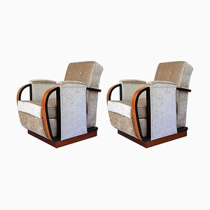Italian Art Deco Birdseye Maple Armchairs, 1930s, Set of 2