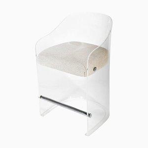 Plexiglas Armlehnstuhl mit Details aus Chrom, 1960er