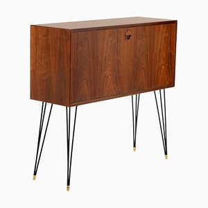 One Slender Teak Cabinet with Metal Legs, 1950s