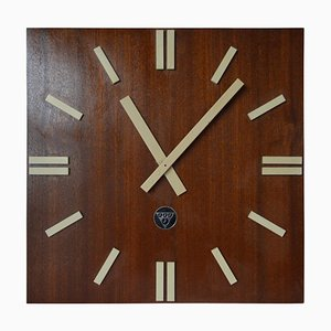 Large Industrial Wooden Wall Clock Type PPH 410 from Pragotron, 1980s