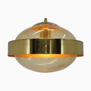 Lampada a sospensione UFO Space Age in ottone di Kamenicky Senov, anni '70