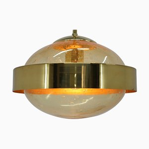 Space Age UFO Brass Pendant Lamp from Kamenicky Senov, 1970s