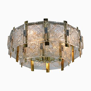 Glass and Brass Chandelier from Kamenicky Senov, 1970s