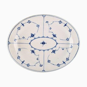 Blue Fluted Serving Dish in Hand Painted Porcelain from Royal Copenhagen