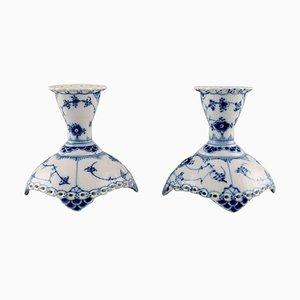 Blue Fluted Full Lace Porcelain Candleholders from Royal Copenhagen, Set of 2