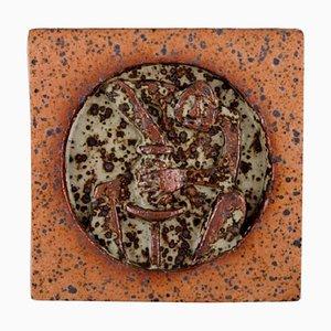Glasierte schwedische Wandtafel aus Steingut von Rolf Palm, 1970er