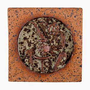 Swedish Glazed Stoneware Wall Plaque from Rolf Palm, 1970s