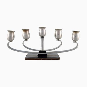 Mid-Century Danish Stainless Steel 5-Arm Candleholder from Cohr