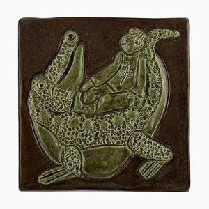 Glazed Stoneware Wall Plaque with Boy and Crocodile by Otto Klaesson for Höganäs, 1970s