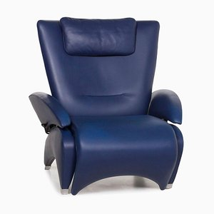 Blue Leather DS 260 Armchair with Relax Function from de Sede