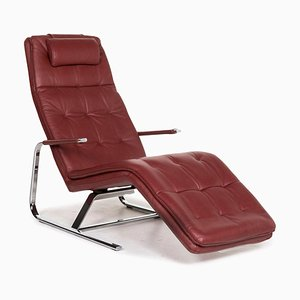 Sample Ring Wine Red Leather Lounger with Relax Function from Musterring