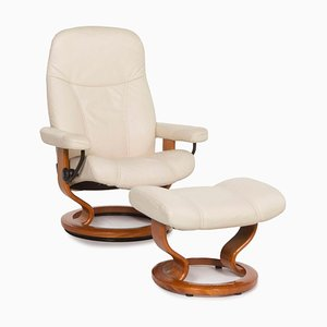 Consul Cream Leather Armchair by Kein Designer for Stressless