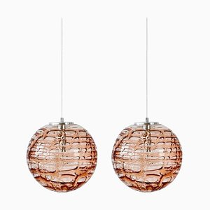 Pink Murano Glass Pendant Lights in the Style of Venini, 1960s, Set of 2