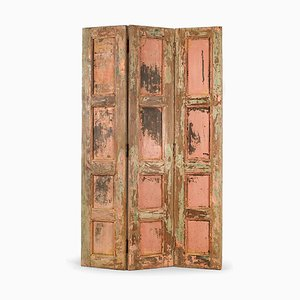 3-Wing Wandschirm aus Holz mit Patina Oberfläche