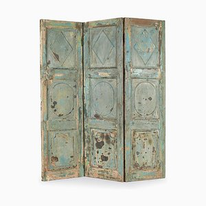 3-Wing Wooden Screen with Patina-Finish, 1940s