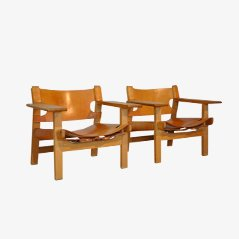 Vintage Easy Chairs by Borge Mogensen for Fredericia, Set of 2