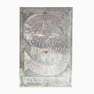 French Singer Sewing Machine Industrial Galvanised Steel Advertising Sign, France, 1920s