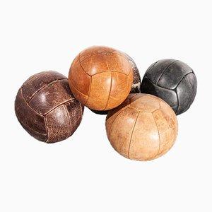 Large Czech Leather Decorative Medicine Ball, Czech, 1950s