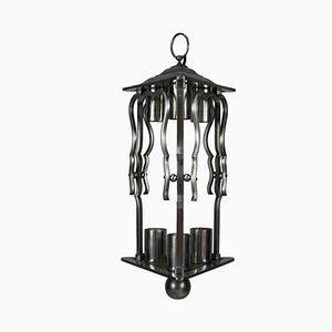 Französische Stahl Laternen Lampe, 1930er