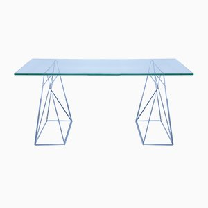 Vintage Glass and Steel Console Table