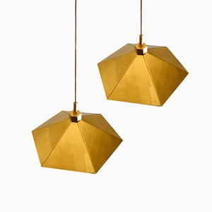 Belgian Brass Umbrella Shaped Pendant Lamps, 1970s, Set of 2