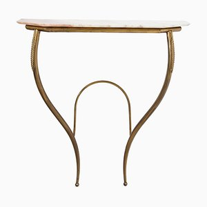 Mid-Century Italian Brass Console Table with a Marble Top