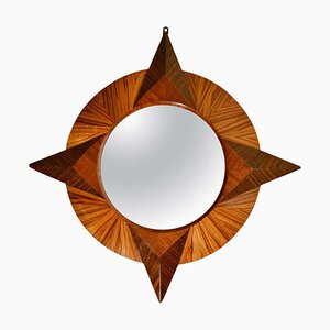 Small Round Zebra Wood Mirror, 1950s