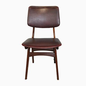 Maroon Leatherette Chairs by Louis van Teeffelen, 1960s, Set of 4